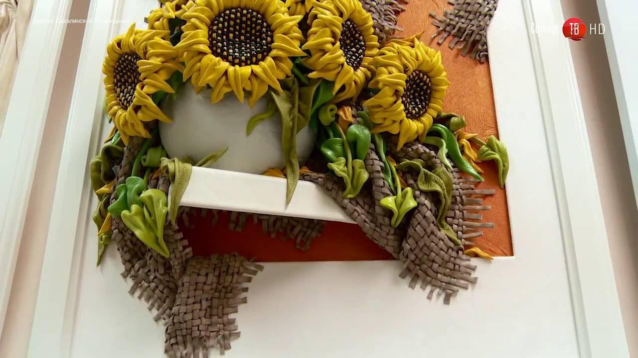Купить или заказать цветы в интернет-магазине на ярмарке мастеров. Картина выполнена из натуральной кожи. Ручная авторская работа.