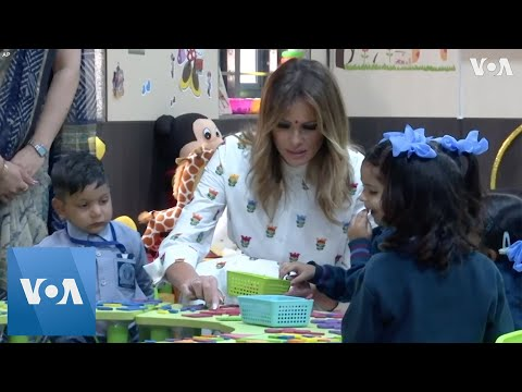 Melania Trump Visits 'Happiness Class' in Indian School