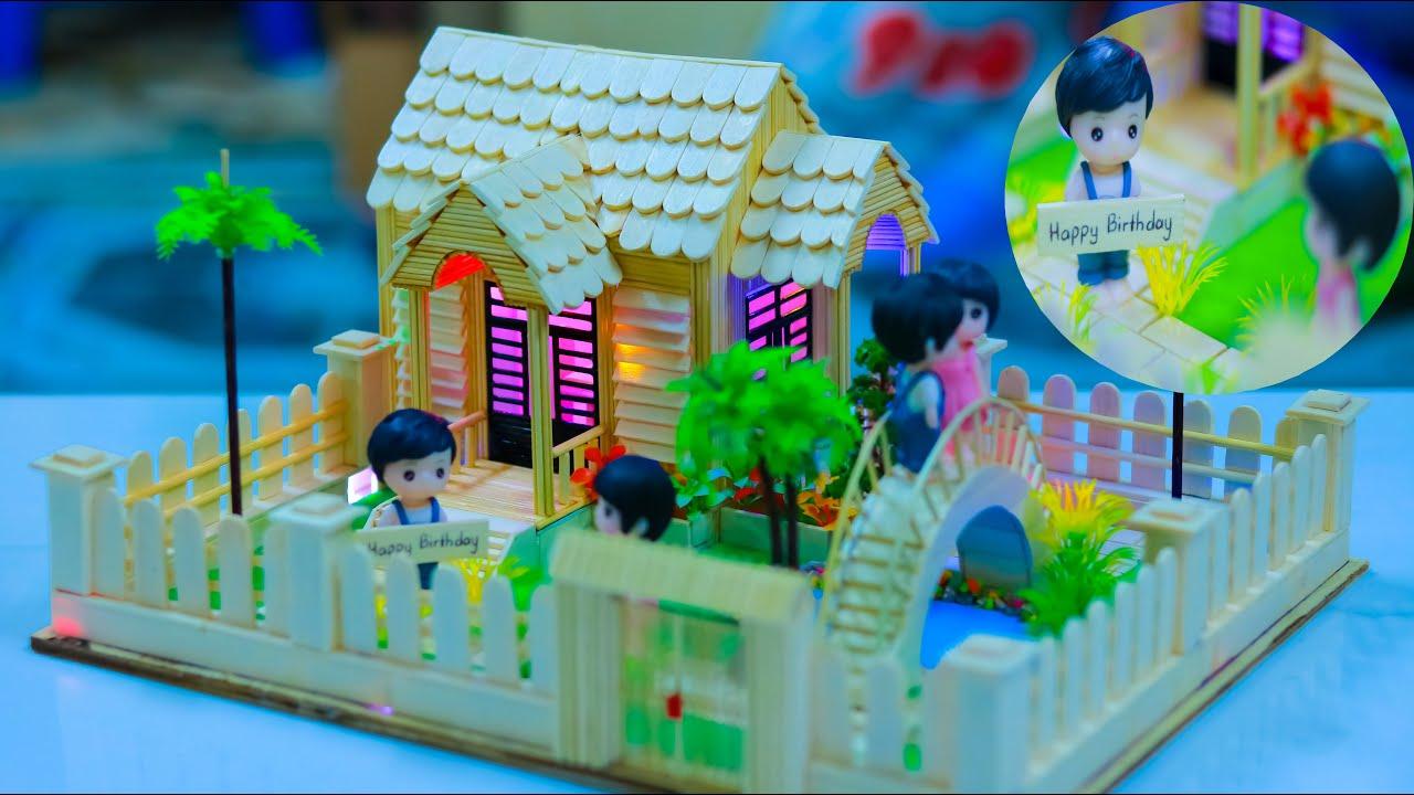 Làm Nhà Tăm Tre tặng Sinh Nhật người yêu với bản vẽ đầy đủ – Nhà Tăm Tre mã N-1D