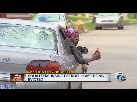Squatters inside Detroit home being evicted