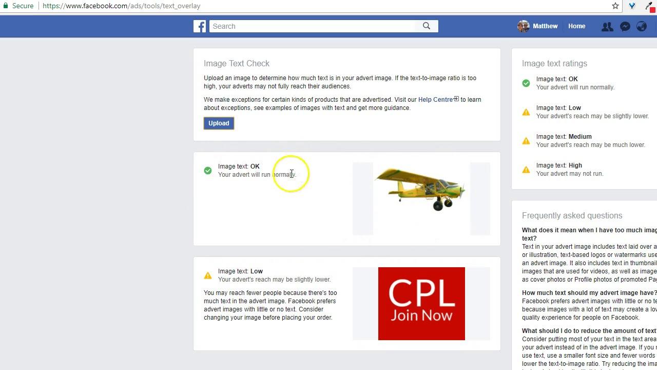 Проверить фото на текст в фейсбук