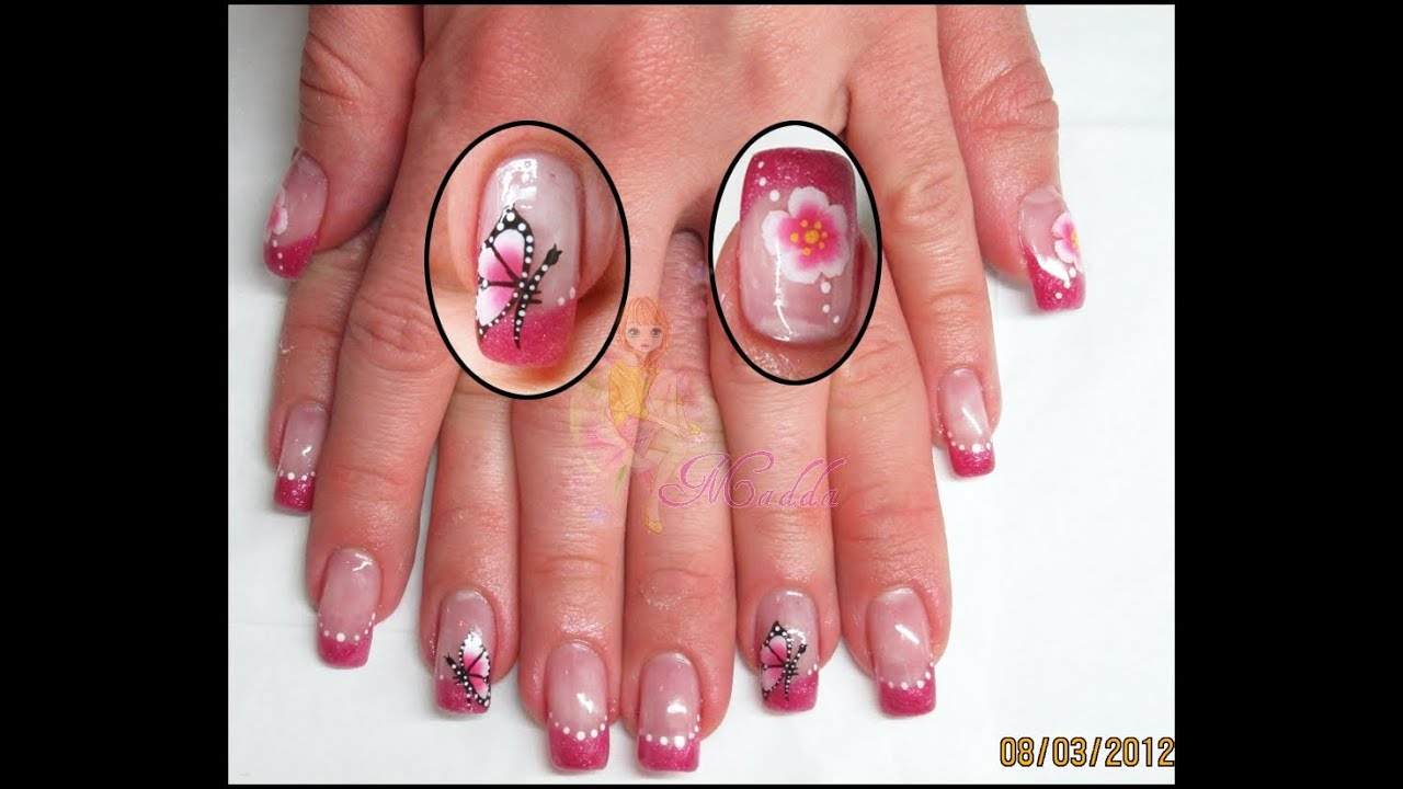 Connu Nail art - French rosa con fiori e farfalla one move (micropittura  LW62