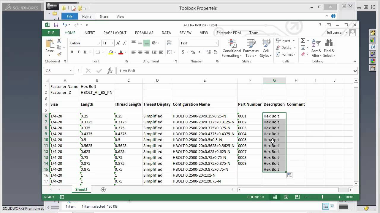 SOLIDWORKS - Updating Toolbox using Excel
