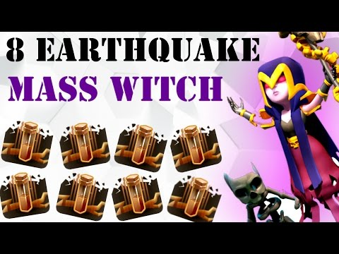 8 EARTHQUAKE MASS WITCH : NEW STRONG TH9 3 STAR WAR ATTACK STRATEGY (No Bowlers)  : Clash of Clans