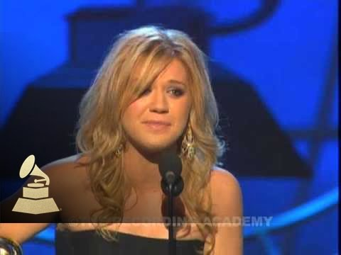 Kelly Clarkson accepting the GRAMMY for Best Female Pop Vocal Performance at the 48th GRAMMY Awards