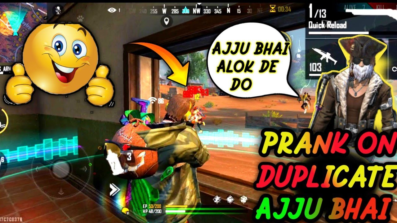 #Free Fire -Duplicate ajjubhai (Total Gaming) prank on Ranked Gameplay Chimkandi वाली commentary