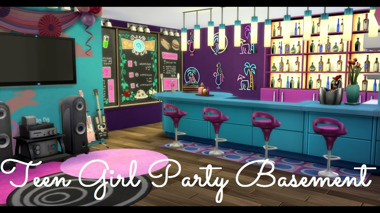Sims 4 Room Build Teen Girl Party Basement Youtube