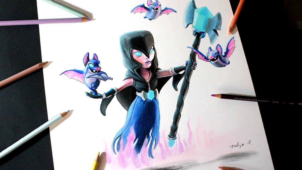 Dibujando Al Mago Eléctrico: Como Dibujo A La Bruja Nocturna De Clash Royale