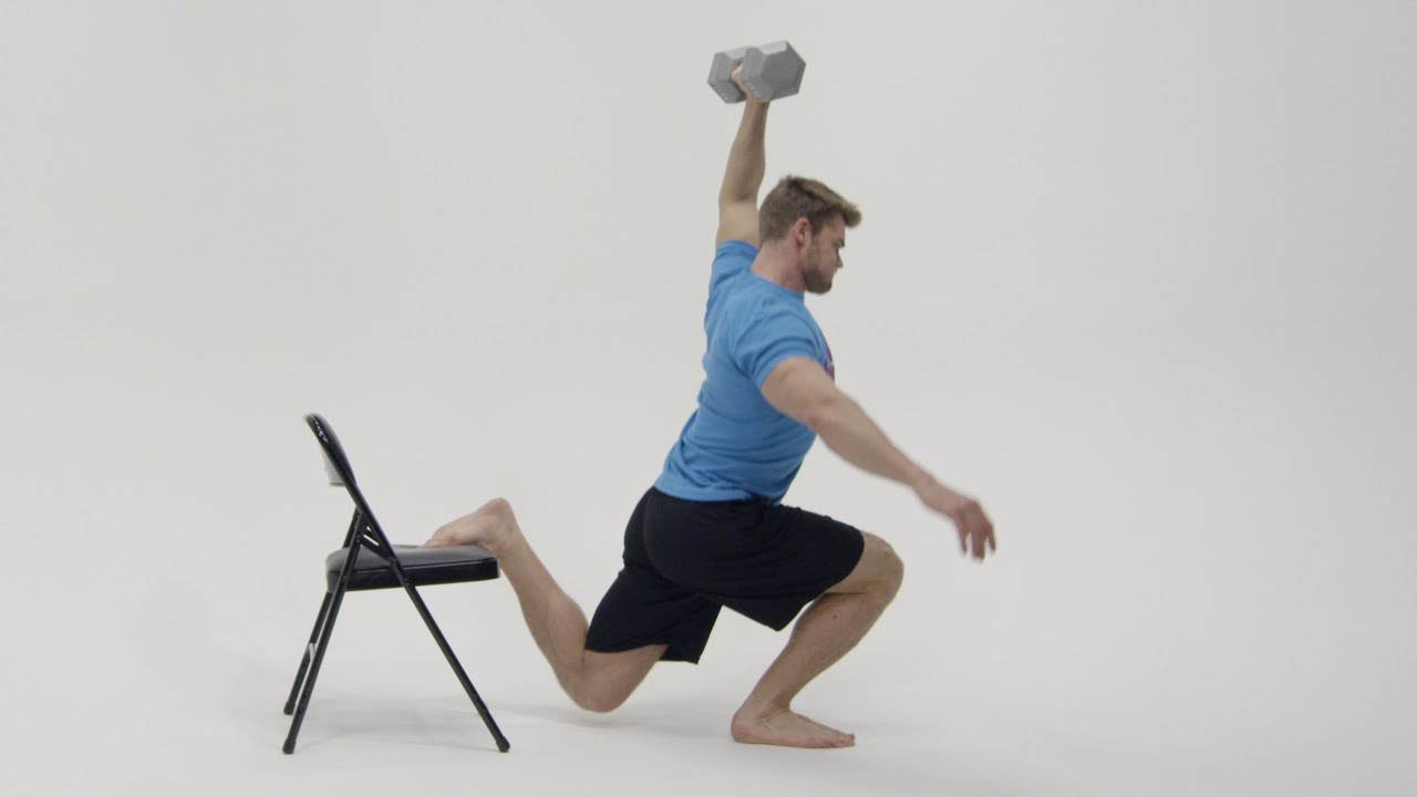 How To Perform Overhead Bulgarian Split Squats - YouTube