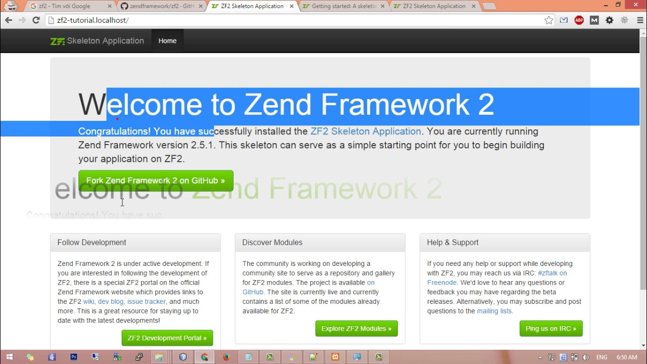 Install Zend 2 Framework + install the ZendSkeletonApplication with XAMPP
