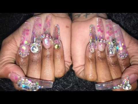 acrylic nails tutorial long clear