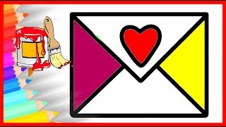 HOW TO DRAW Envelope Drawing & Coloring For Kids   🔴 Fun Rainbow