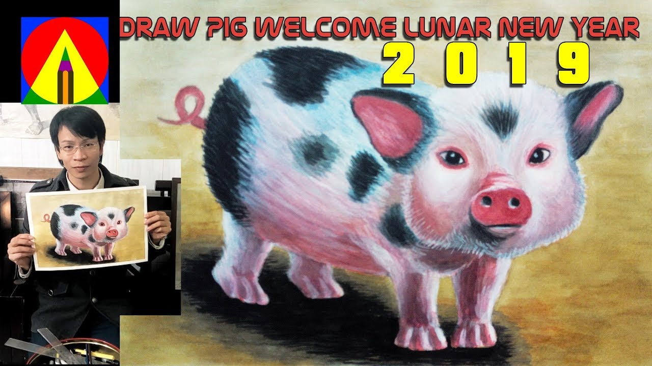 Happy New Year 2019 Of The Pig Draw Pig Welcome Lunar New Year