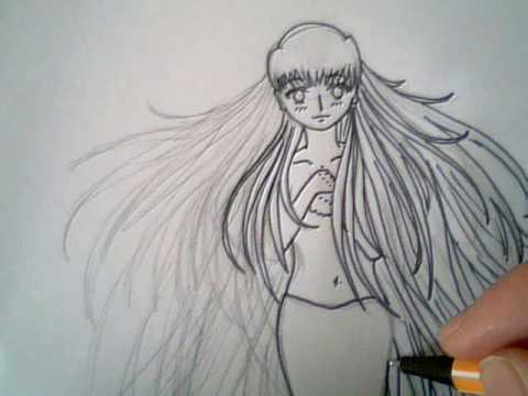 draw long wavy manga hair
