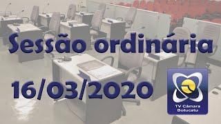 Sessão ordinária 16/03/2020