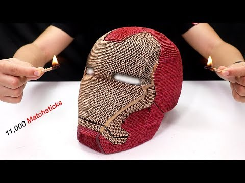 Match Chain Reaction - Burning Iron Man Helmet 11,000 matchsticks