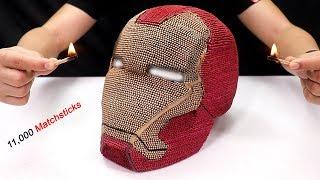Match Chain Reaction - Burning Iron Man Helmet 11,000 matchsticks
