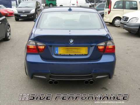 insideperformance auspuff f r bmw e90 e93 im 4 rohr performance look hier 325i youtube. Black Bedroom Furniture Sets. Home Design Ideas