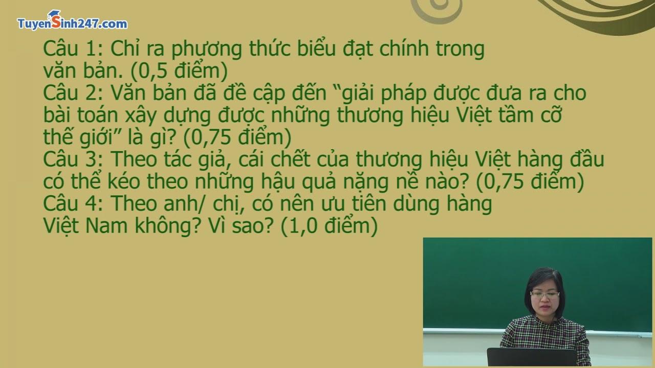 Đề thi thử THPT QG môn Ngữ Văn – Đề số 1 – cô Phạm Thị Thu Phương