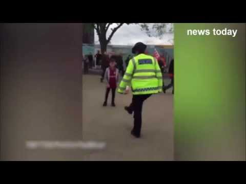 Police dashcam  officer shows off silky football skills outside Wembley 2015