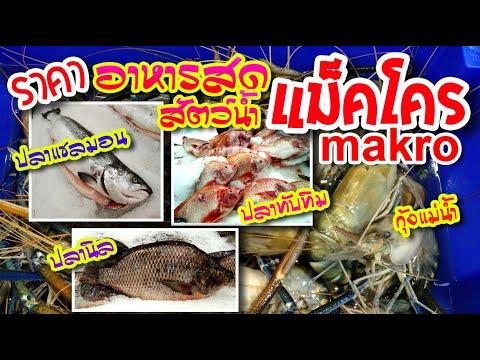 ราคาอาหารสด ปลาแซลมอน ปลานิล ทับทิม ปลาช่อน ปลาดุก กุ้ง ปูม้า หอย กบ ห้างแม็คโคร makro  @ikidartTV