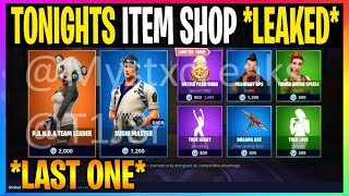 *NEW* Fortnite: LAST ITEM SHOP *ITEM SHOP LEAKED* P.A.N.D.A Team Leader, Sushi Master (Leaks)