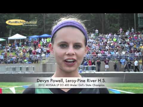 Interview: Devyn Powell, Leroy Pine River H.S. - 2012 MHSAA LP D3 400m State Champion