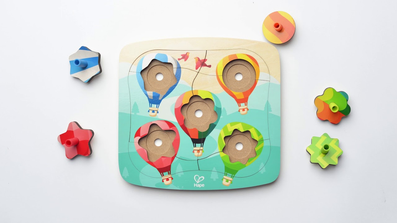 Wooden Two Games in One Puzzle with Two Spinning Tops Fun Educational Puzzle for Kids Hape Spinning Balloons Puzzle