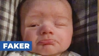 Baby Pretends To Sleep In Front Of Parents