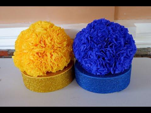 DIY Beautiful Round Tissue Paper Flower Centerpieces Decoration Idea