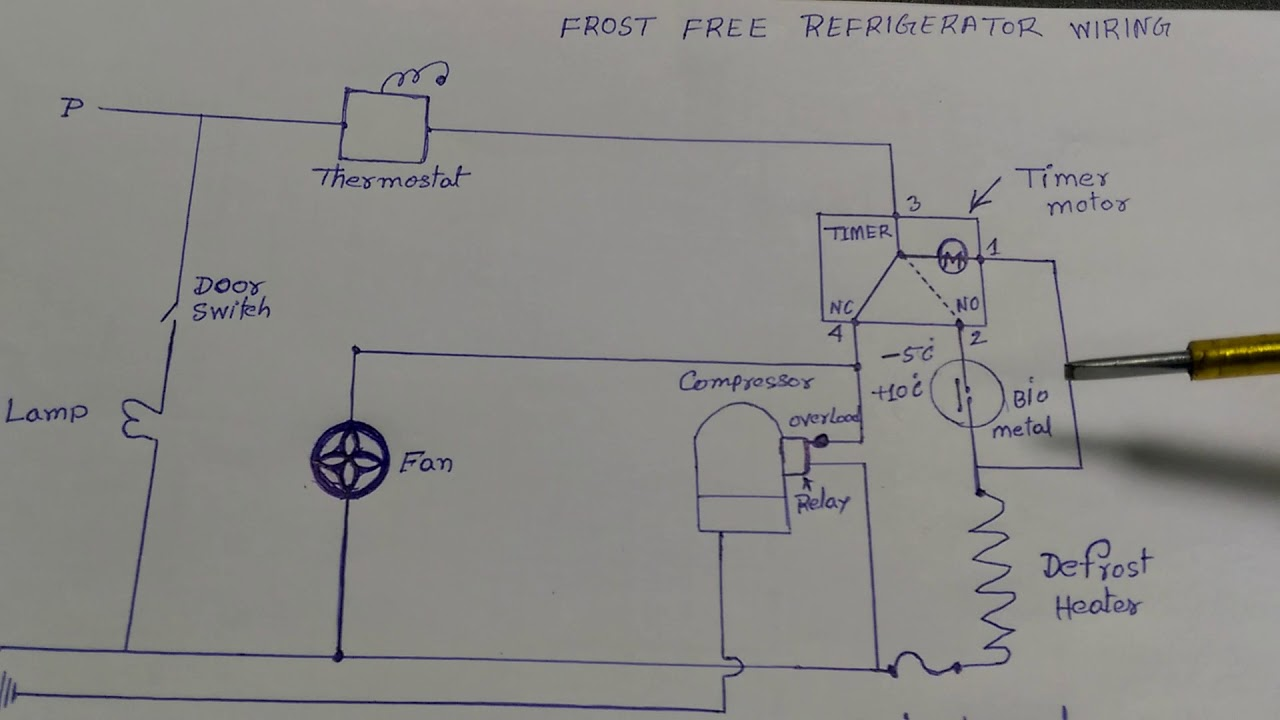 Frost free refrigerator wiring diagram in Hindi - YouTube | Refrigerator Wiring Diagram |  | YouTube