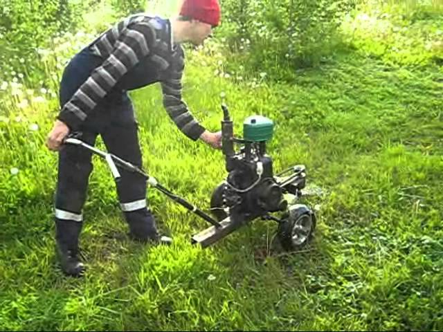 Testing the homemade mower