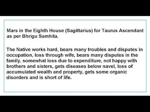 Mars in the Eighth House for Taurus Ascendant as per Bhrigu