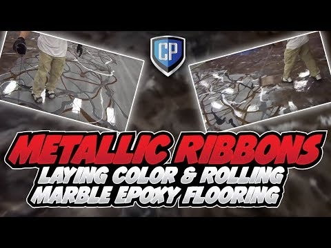 Marble Epoxy Flooring - Laying Metallic Ribbons