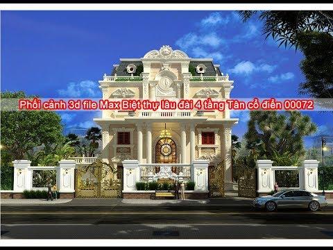 Phối cảnh 3d file Max Biệt thự lâu đài 4 tầng Tân cổ điển 00072