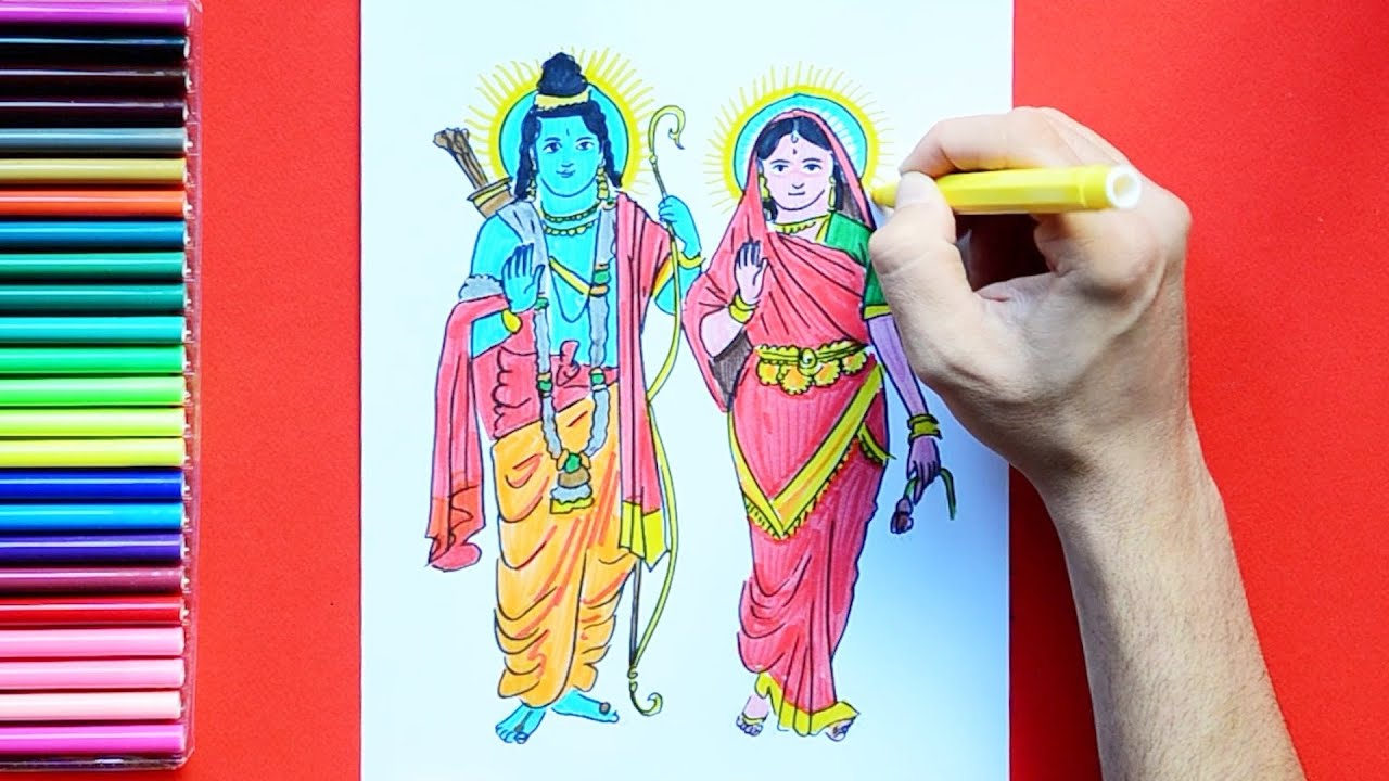 How to draw lord ram and sita