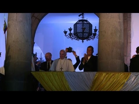 Pope visits cathedral in Ecuadoran capital Quito