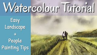 Atmospheric Step By Step Watercolour Landscape Painting With People