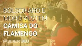 Bolsonaro e Sergio Moro vestem camisa do Flamengo em jogo em Brasília