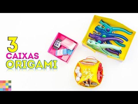 3 Caixas de Origami DIY | Caixas organizadoras