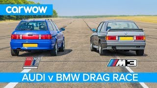 BMW E30 M3 vs Audi RS2 - DRAG & ROLLING RACE and REVIEW