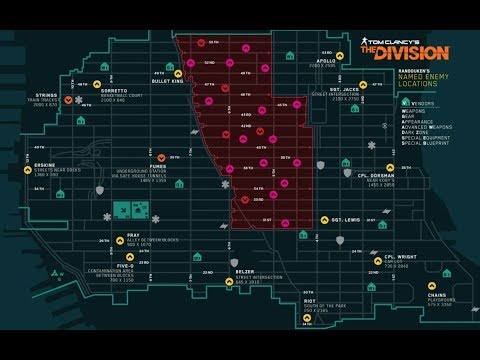 The Division 1.8 - All 15 Open World Boss Location - Loot Classified Gears