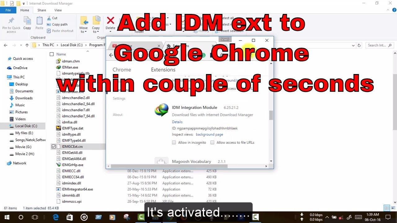 How to add Internet Download Manager Extension (IDM ext) to google chrome