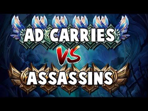 5 Diamond AD CARRIES VS 5 Bronze/Silver ASSASINS - League of Legends Rank Battles