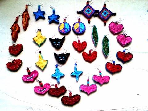🎨 Como hacer aretes de papel mache/regalo lindo/san valentin / artesanías