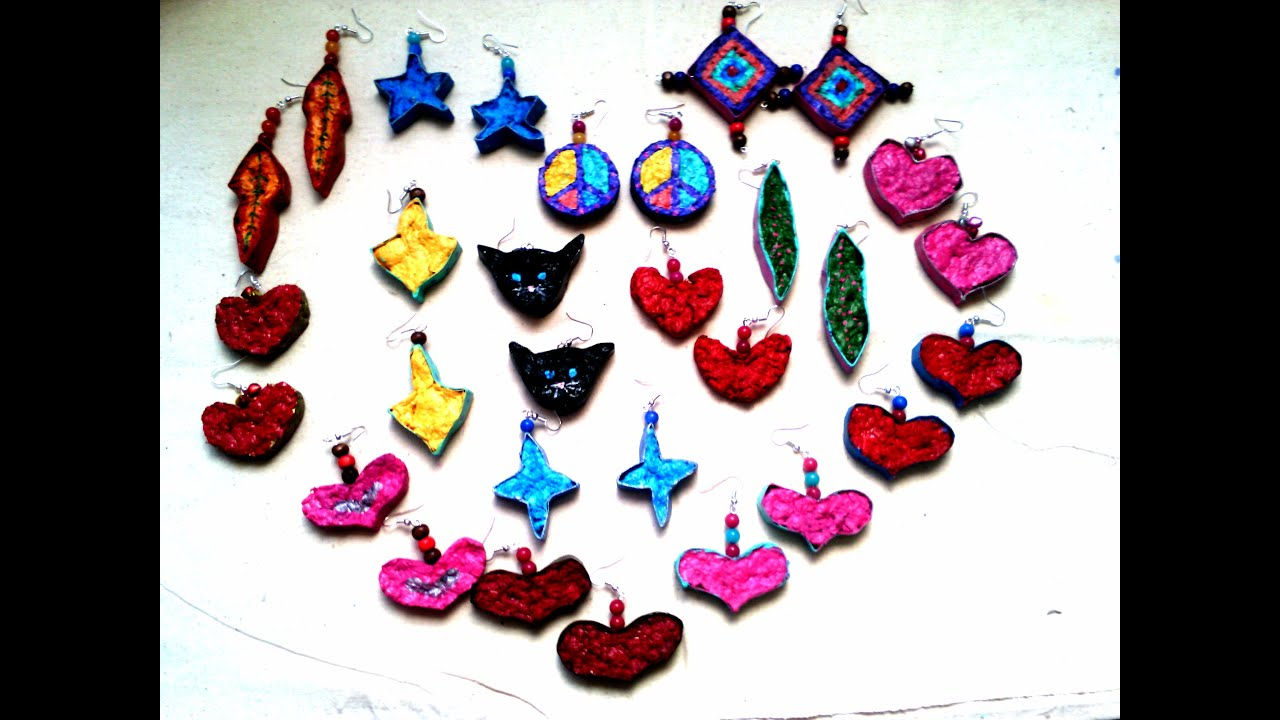 🎨 Como hacer aretes de papel mache/regalo lindo/san valentin ...
