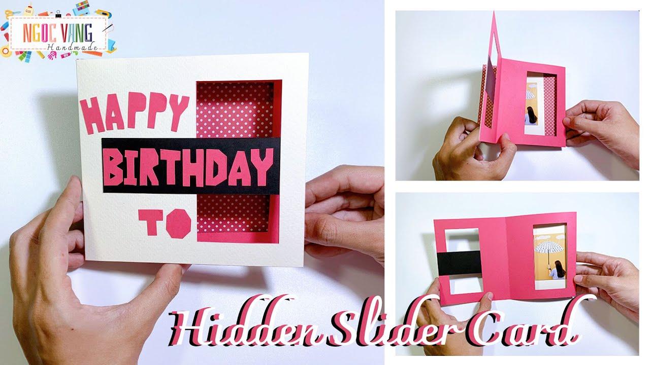 Hidden Slider Card Tutorial – Thiệp sinh nhật ẩn nội dung – NGOC VANG Handmade