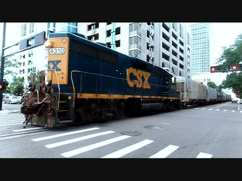 Thumbnail: CSX Street Runner Freight Train In The Middle Of Downtown