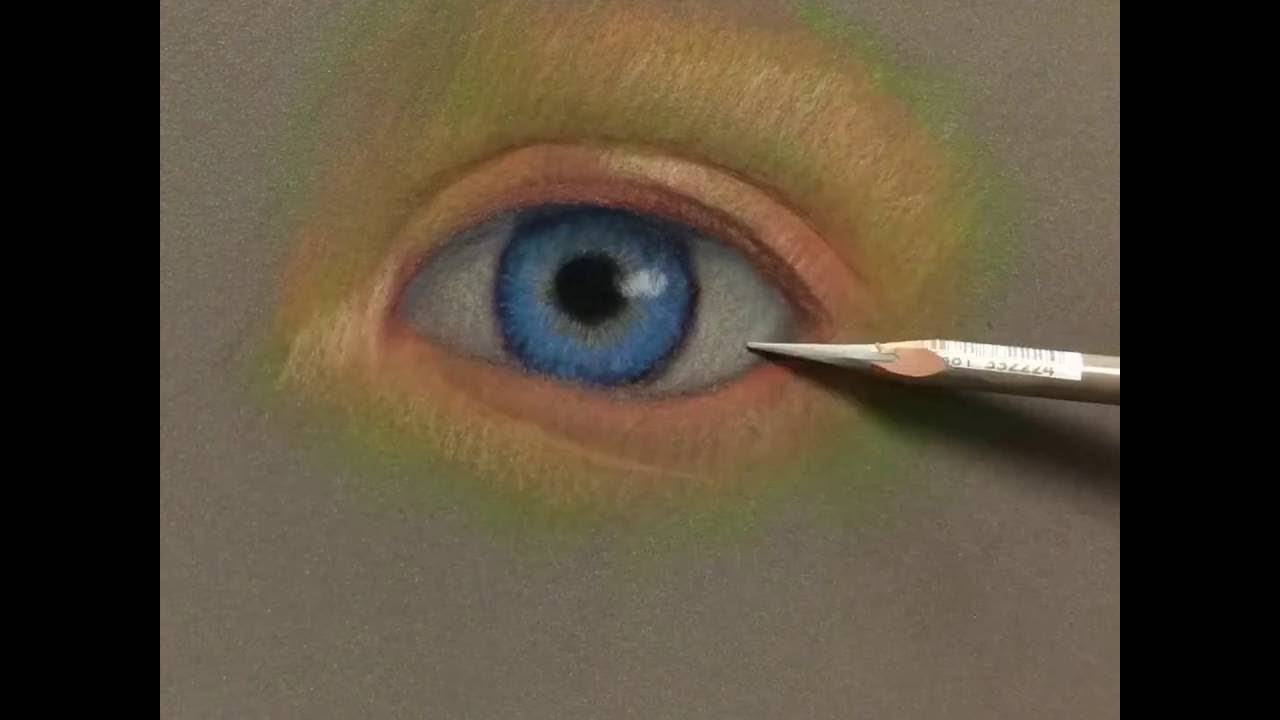 through the eye carbothello pastel pencil on sennelier sanded