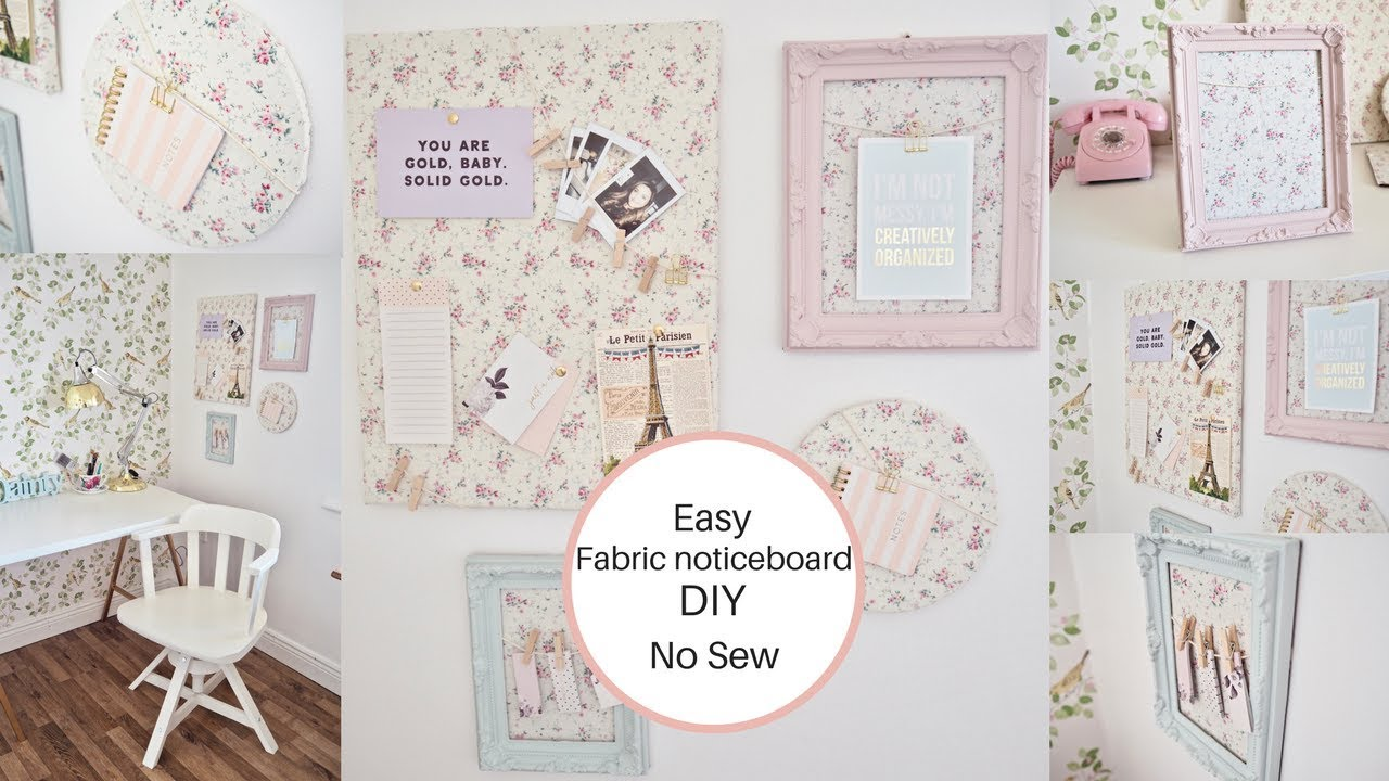 How To Make A Fabric Noticeboard No Sew Easy Diy Youtube